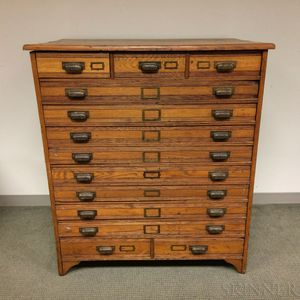 Late Victorian Oak Thirteen-drawer Flat File Cabinet