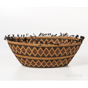 Yokuts Feathered Basketry Bowl