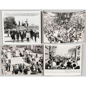 Eight Civil Rights Press Photographs of Protesters.     Estimate $400-600