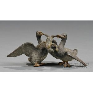 Austrian Cold Painted Bronze Figure of Two Ducks