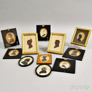 Eight Framed Silhouettes and Three Portrait Miniatures