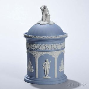 Modern Wedgwood Solid Light Blue Jasper Dome-top Jar and Cover