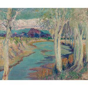 Jessie Benton Evans (American, 1866-1954)      Aspens Along the River
