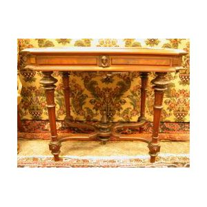 Renaissance Revival White Marble-top Walnut Library Table.