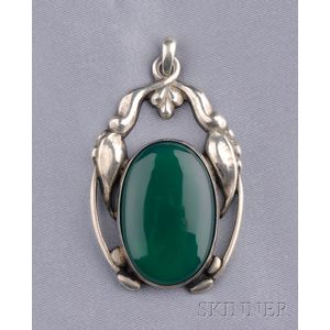 Silver and Green Onyx Pendant, Georg Jensen