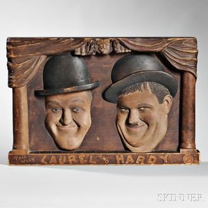 Carved and Stained Pine Laurel & Hardy Sign
