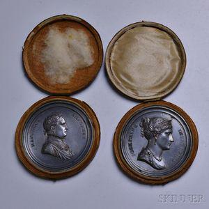 Cased Pair of Napoleon and Josephine White Metal Wedding Commemorative Medals