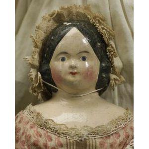 Early Papier Mache Shoulder Head Doll