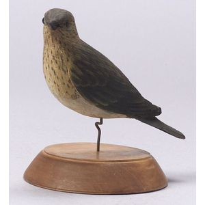 Carved and Painted Warbler Figure