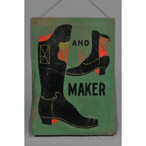 Painted Tin Boot and Shoemaker