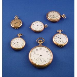 Six Assorted Gold-filled Pocket Watches