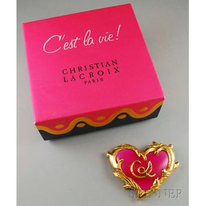 Christian Lacroix Pink Heart Brooch