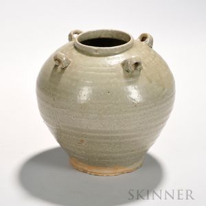 Ash-glazed Storage Jar, China, possibly Jin dynasty, bulbous form widening at the shoulders, with four small loop handles, all decorate