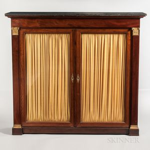 Neo-classical-style Mahogany-veneered Marble-top Bookcase