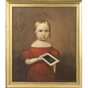 American School, 19th Century    Portrait of a Girl in a Red Dress Holding a Portrait of a Man.