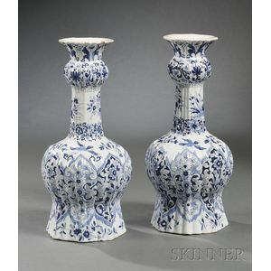 Pair of Dutch Delft Blue and White Vases