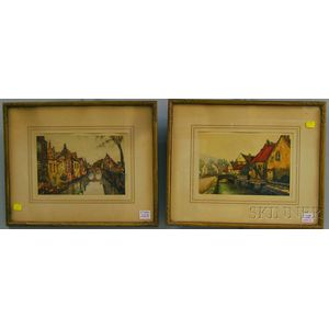 Two Framed Photomechanical Reproductions of European Village Views