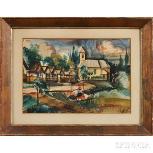 Zoltan Leslie Sepeshy (American, 1898-1974) Painting      Yellow Church