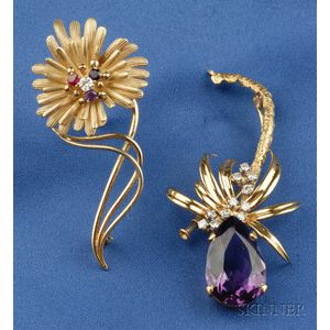 Two Gem-set Flower Brooches