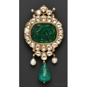 Fine Carved Emerald and Diamond Pendant
