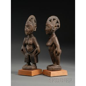 Two African Carved Wood Ibeji Dolls