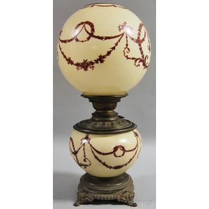Hand-painted Neoclassical-style-decorated Opaque Glass Gone-with-the-wind Table   Lamp