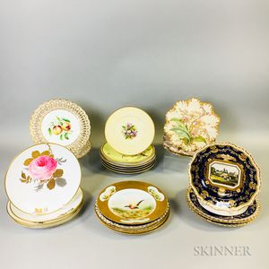 Twenty-four Mostly Hand-painted Porcelain Plates