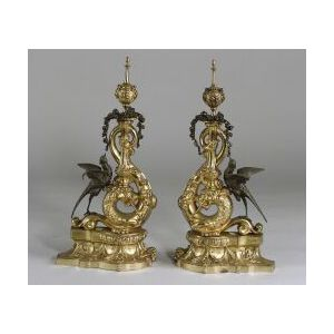 Gilt Bronze and Patinated Metal Louis XVI-style Chenet
