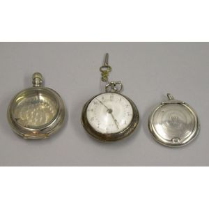 Coin Silver Pocket Watch Case, an English Sterling Silver Open Face Key-wind Pocket Watch, and a Sterling Silve...