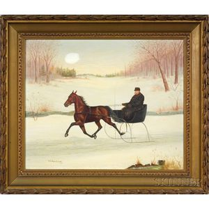 William C. Van Zandt (American, ac. 1844-after 1860)    Winter Afternoon Sleigh Ride.