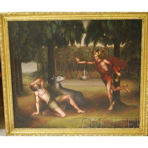 American School, 19th/20th Century      Allegorical Scene, Probably Mercury and Argus.