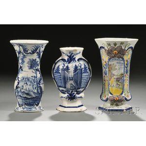 Three Dutch Delft Vases