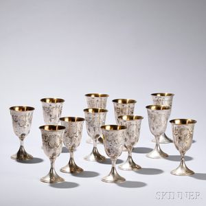 Twelve S. Kirk & Son Sterling Silver Goblets