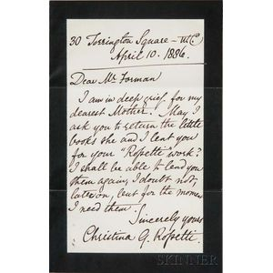 Rossetti, Christina (1830-1894) Autograph Letter, Autograph Sentiment, and Two Photographs of her Funeral.