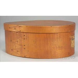 Shaker Large Covered Oval Box with Label