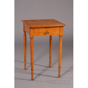 Federal Maple Turned-leg One-Drawer Stand