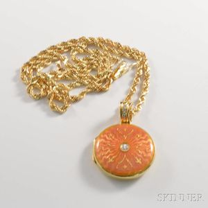 Contemporary Faberge 18kt Gold, Diamond, and Enamel Locket
