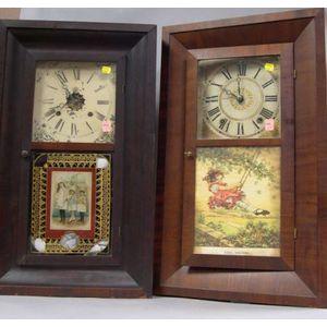 Boardman & Wells and Waterbury Clock Co. Mahogany Veneer Ogee Mantel Clocks