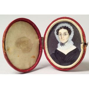 American School, 19th Century    Miniature Portrait of a Woman.