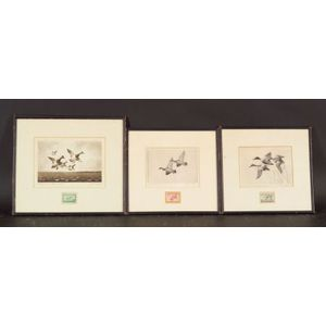 Lot of Six Federal Duck Stamp Related Prints:    Walter E. Bohl (American, 1907-1990),   Federal Duck Stamp Design - 1943