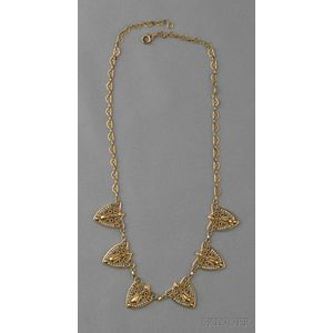 Art Nouveau 18kt Gold and Seed Pearl Necklace