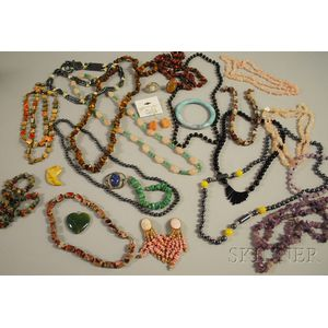 Assorted Group of Mostly Hardstone Jewelry