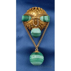 Antique 14kt Gold and Malachite Pendant/Brooch