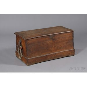 Camphor Wood Six-Board Sea Chest with Painted Becket Handles
