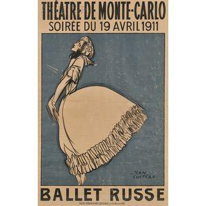 Jean Cocteau (French, 1889-1963), Advertising Poster: Ballet Russe, Soirée du 19 Avril 1911, Théâtre de Monte-Carlo (Karsavina in Spect