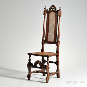 English Walnut Jacobean Revival Caned Side Chair