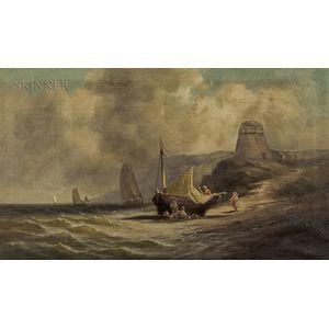 Samuel P. Dyke (American, 1835-1881)      Fisherfolk Beside a Beached Ketch.