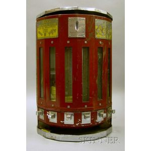 Adams Chewing Gum Chrome and Painted Metal Faceted Demilune One-Cent Vending   Machine