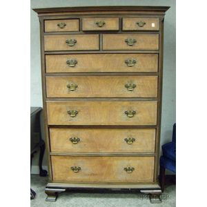 Chippendale-style Inlaid Mahogany and Mahogany Veneer Tall Chest of Ten Drawers