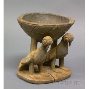 African Carved Wood Divination Bowl